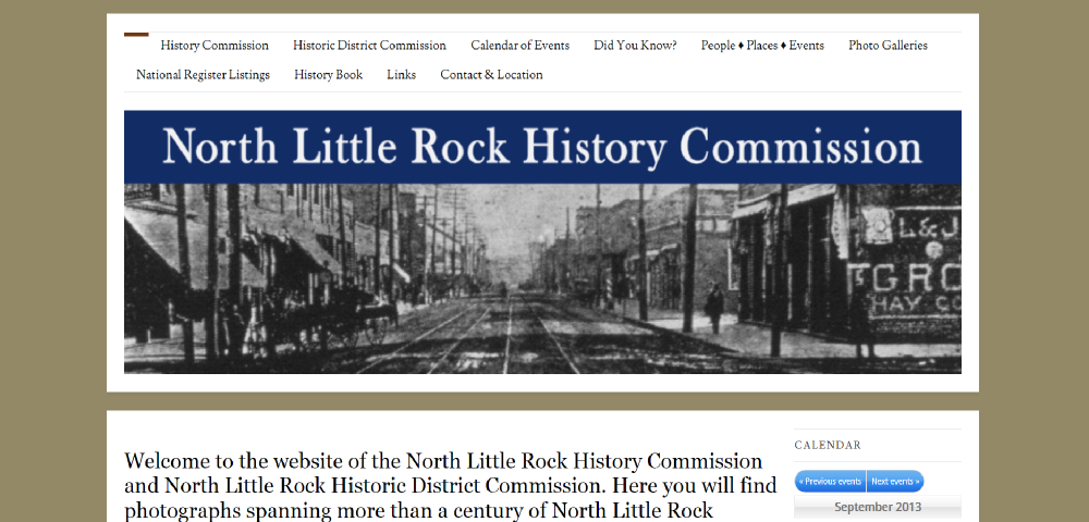 North Little Rock History Commission website by Prodigy Designs     www,northlittlerockhistory.org